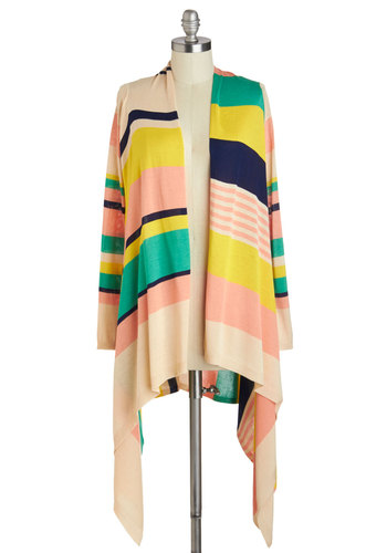 Sunset Sorbet Cardigan - Multi, Yellow, Green, Blue, Pink, Stripes, Casual, Long Sleeve, Handkerchief