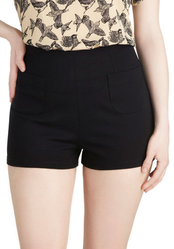 Thrift You Must Shorts - Black, Solid, Pockets, Exposed zipper, Party, Casual, High Waist, Summer
