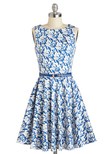 Luck Be a Lady Dress in Avian - Print with Animals, Cotton, Mid-length, Pockets, Belted, Party, A-line, Blue, White, Exposed zipper, Daytime Party, Fit & Flare, Variation, Boat, Basic