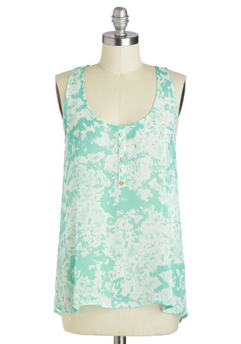 Aquatic Reflections Top - Blue, Buttons, Casual, Racerback, Sheer, Mid-length, White, Tie Dye, Beach/Resort, Scoop, Travel