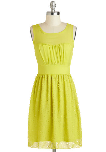Cutout for a Stroll Dress - Mid-length, Yellow, Solid, A-line, Scoop, Flower, Daytime Party, Sleeveless, Summer