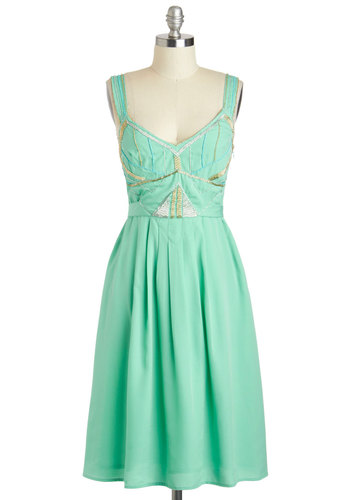 A Whole New Twirl Dress - Beads, Party, A-line, Sleeveless, Summer, Long, V Neck, Wedding, Cocktail, Vintage Inspired, Pastel, Mint, Bridesmaid