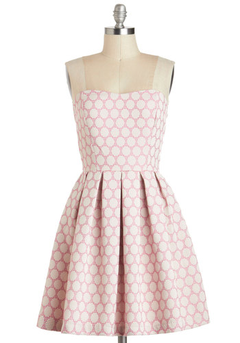 My Favorite Macaron Dress - Pink, Tan / Cream, Polka Dots, Lace, Daytime Party, Strapless, Sweetheart, Mid-length, Pleats, Fit & Flare, Graduation