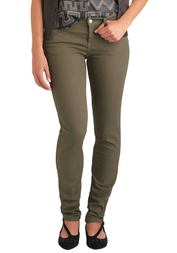 Spring in Every Season Jeans in Taupe - Solid, Buttons, Pockets, Casual, Skinny, Tan, Denim, Cotton, Variation