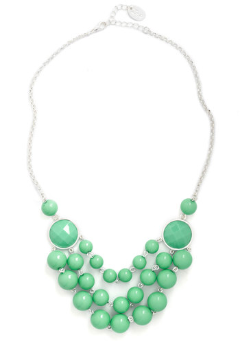 Such a Treat Necklace - Mint, Solid, Beads, Statement, Tiered, Silver, Top Rated