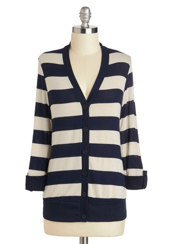 Morning Tea Time Cardigan - Blue, Tan / Cream, Stripes, Buttons, Casual, Nautical, Long Sleeve, Mid-length, V Neck, Winter, Travel, Fall