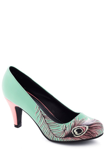 Proudly Posh Heel in Mint - Mid, Print, Fairytale, Mint, Pink, Party, Faux Leather, Variation, Top Rated