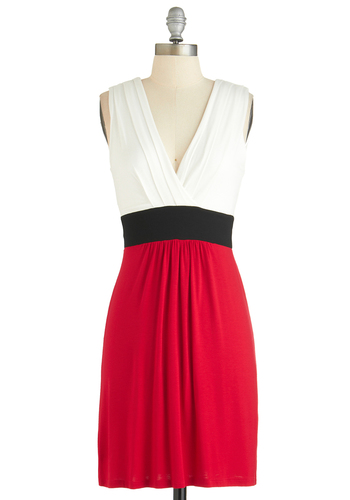 Colorblocking Scenes Dress - Short, Red, Black, White, Party, Colorblocking, Shift, Tank top (2 thick straps), V Neck, Spring, Summer, Exclusives
