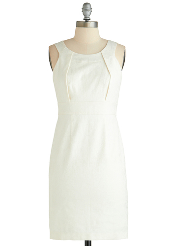 Mingling at the Museum Dress - Mid-length, White, Solid, Lace, Party, Sheath / Shift, Sleeveless, Scoop, Graduation, Bride, Exclusives