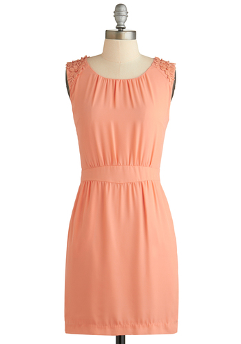 Professionally Precious Dress - Mid-length, Coral, Solid, Crochet, Party, Shift, Sleeveless, Scoop, Pockets, Spring, Summer