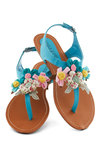 Crafty Afternoon Sandal in Teal - Blue, Multi, Flower, Beach/Resort, Summer, Low, Faux Leather, Daytime Party, Fairytale, Variation