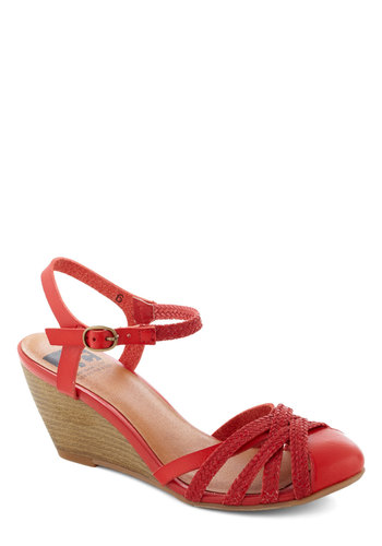 Don't Worry, Be Strappy Wedge in Orchard by BC Shoes - Red, Solid, Braided, Graduation, Wedge, Mid, Faux Leather, Cutout, Vintage Inspired, Summer, Variation