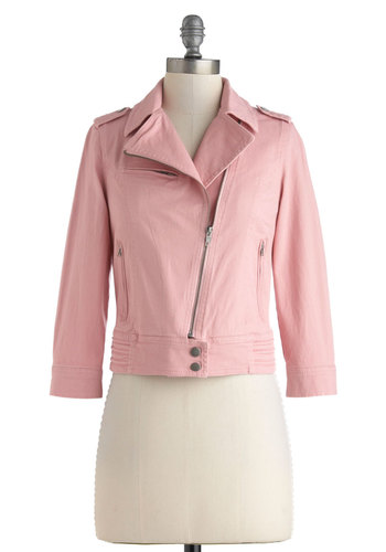 Zip Down Memory Lane Jacket in Rose - Short, Pink, Solid, Exposed zipper, Pockets, Party, Girls Night Out, Urban, Pastel, Long Sleeve, 1