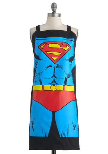 Supper Hero Apron in Superman - Cotton, Blue, Red, Yellow, Black, Novelty Print, Quirky, Summer, Statement, Good, Halloween, Press Placement, Guys