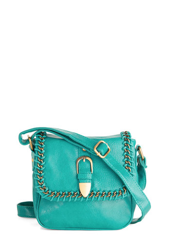 Designer's Day Off Bag in Teal - Faux Leather, Blue, Gold, Solid, Buckles, Chain, Trim, Casual, Variation