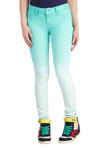 Fades of Turquoise Jeans - Cotton, Denim, Blue, White, Ombre, Casual, Skinny