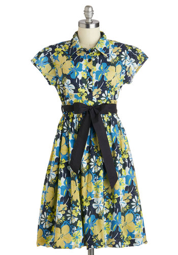 Hibiscus Hopes Dress - Mid-length, Cotton, Blue, Yellow, White, Floral, Buttons, Belted, Casual, Shirt Dress, Short Sleeves, Collared, Beach/Resort, Summer