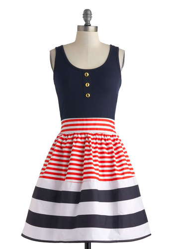 Schooner Said Than Done Dress in Stripes - Nautical, Mid-length, Blue, Red, White, Stripes, Buttons, Party, Fit & Flare, Tank top (2 thick straps), Scoop, Summer, Pinup