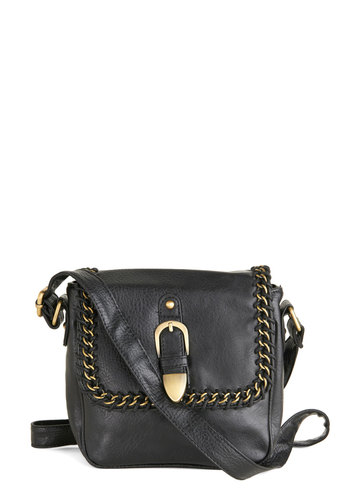 Designer's Day Off Bag in Black - Faux Leather, Black, Gold, Solid, Buckles, Chain, Trim, Casual, Variation