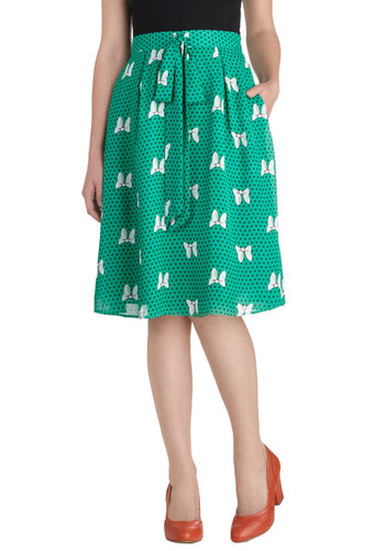 Prose Amongst Bows Skirt - Green, Polka Dots, Casual, Novelty Print, Bows, Work, Vintage Inspired, Spring, Summer, Green, A-line, Mid-length