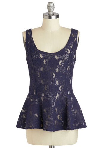 Take a Final Bow Top - Blue, Lace, Work, Peplum, Tank top (2 thick straps), Mid-length, Solid, Party, Daytime Party, Scoop, Blue, Sleeveless, Holiday Party, Lace