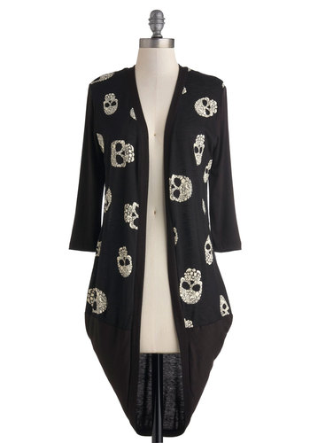 Yorick Truly Cardigan - Black, White, Casual, 3/4 Sleeve, Novelty Print, Urban, Jersey, Knit