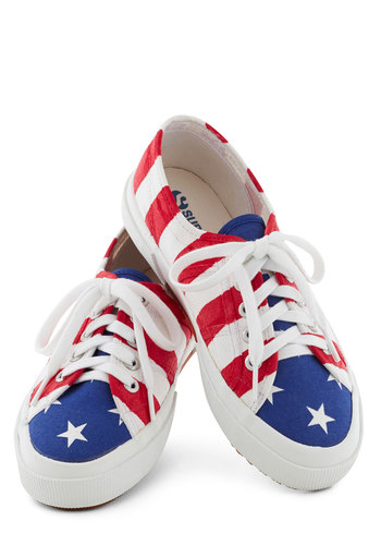 Grand Bold Flag Sneaker - Flat, Red, Blue, White, Novelty Print, Casual, Nautical, Travel, Summer, Lace Up