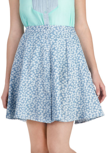 Easy Growing Skirt - Blue, White, Floral, Buttons, A-line, Short, Casual, Spring