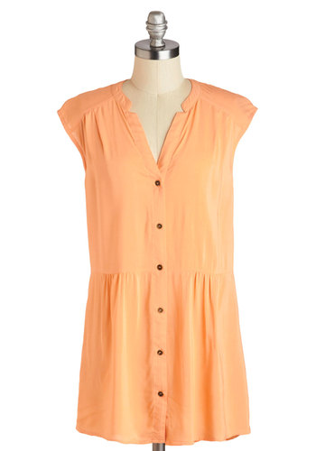 Well Within Your Peach Tunic - Orange, Solid, Buttons, Long, Pastel, Casual, Beach/Resort, Travel, Minimal, Cap Sleeves, Summer, V Neck