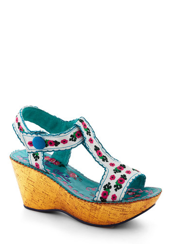 Let's Swiss Again Wedge by Irregular Choice - Floral, Embroidery, Wedge, Multi, Mid, Luxe, Folk Art, White, Summer
