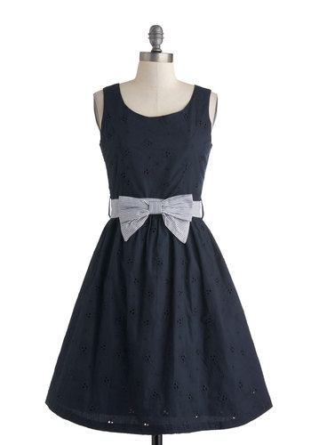 Work York Way Up Dress - Black, Solid, Bows, Eyelet, Casual, Tank top (2 thick straps), Mid-length, Pockets, Fit & Flare, Scoop, Nautical, Spring