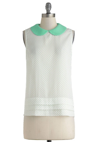 To and Froyo Top - White, Polka Dots, Peter Pan Collar, Sleeveless, Daytime Party, Mid-length, Mint, Work, Vintage Inspired, 60s, Spring, Summer, Collared, Mint