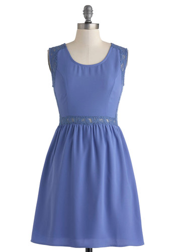 A Literary Time Out Dress - Mid-length, Blue, Solid, Lace, Casual, A-line, Sleeveless, Scoop