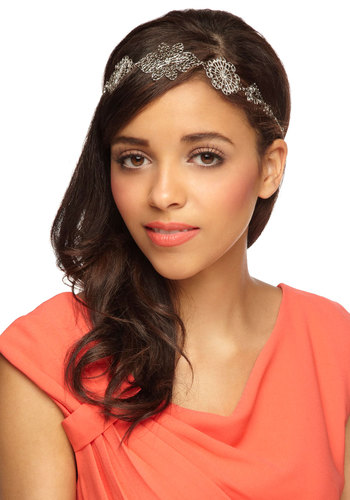 Filigree Me In Headband - Silver, Solid, Cutout, Flower, Special Occasion, Wedding, Fairytale, Vintage Inspired, 20s