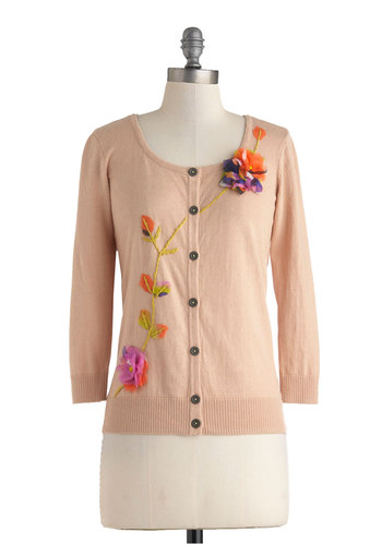 Delicately Yours Cardigan - Orange, Green, Solid, Flower, Work, Mid-length, Cotton, Vintage Inspired, 50s