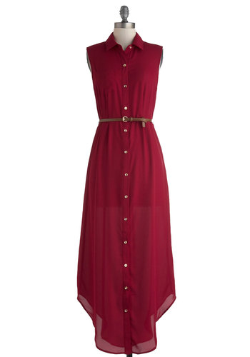 Long and Wine-ding Road Dress - Long, Red, Gold, Buttons, Belted, Casual, Maxi, Shirt Dress, Sleeveless, Collared, Button Down, Travel, Basic, Fall