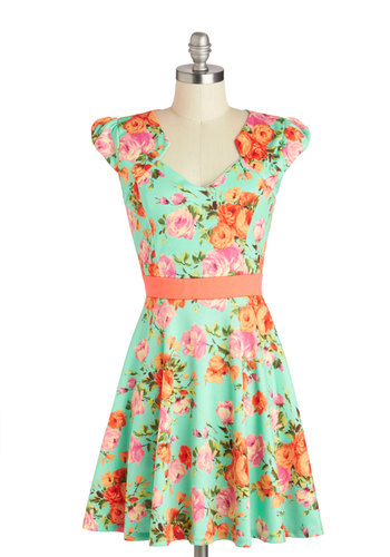 127 Flowers Dress - Mid-length, Mint, Orange, Green, Pink, Floral, Casual, A-line, Cap Sleeves, Daytime Party, Spring, Summer
