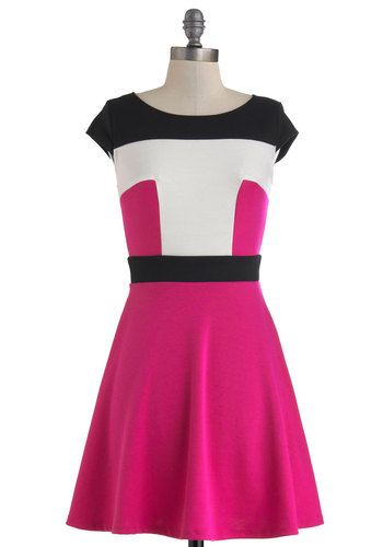 Power Player Dress - Short, Pink, Black, White, Casual, A-line, Cap Sleeves, Scoop, Exposed zipper, Work, Colorblocking, Daytime Party