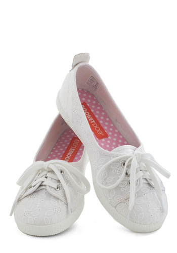 Walk Of The Town Flat in White Petal - White, Eyelet, Fairytale, Flat, Lace Up, Spring