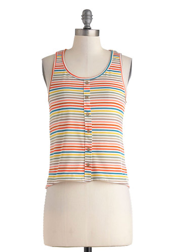 Rainbow Rows Top - Multi, Red, Yellow, Blue, Grey, Stripes, Buttons, Casual, Tank top (2 thick straps), Short, Vintage Inspired, Summer, Cropped