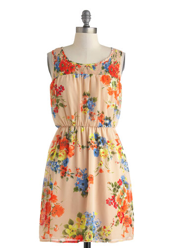 Pretty in Posies Dress - Mid-length, Tan, Multi, Floral, Casual, A-line, Sleeveless, Scoop, Spring, Summer