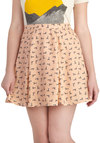 Giraffe-ternoon Elegance Skirt - Tan, Black, Print with Animals, Kawaii, Quirky, A-line, Short, Novelty Print, Casual, Spring, Summer
