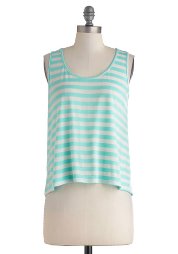 Breezy-Going Top - Blue, Stripes, Casual, Tank top (2 thick straps), Short, Sheer, Buttons, Travel, Minimal, Summer, Jersey, Scoop