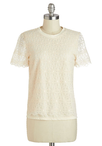 Gazebo Brunch Top - White, Floral, Casual, Short Sleeves, Mid-length, Cotton, Spring