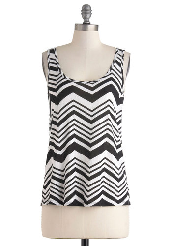 Dance This Way Top - Mid-length, White, Chevron, Casual, Tank top (2 thick straps), Black, Travel, Summer, Scoop