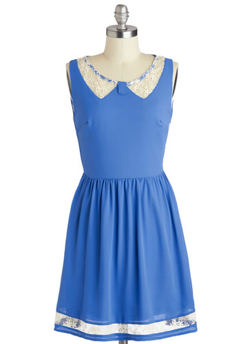 Doily the Way Dress - Mid-length, Blue, White, Solid, Casual, A-line, Sleeveless, Scoop, Cutout, Embroidery, Sheer, Summer