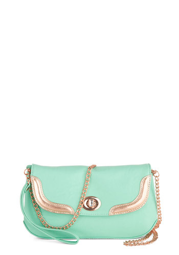 Malibu Meet Up Bag - Mint, Solid, Pastel, Faux Leather, Gold, Daytime Party