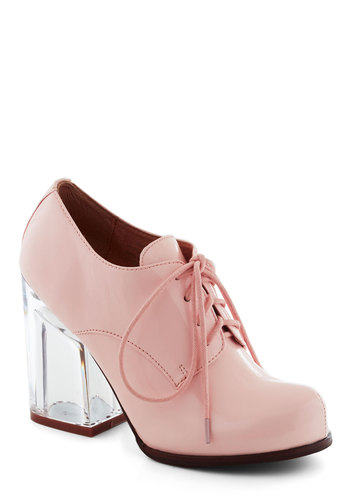 Malt Shop Heel by Jeffrey Campbell - Pink, Solid, Chunky heel, High, Leather, Vintage Inspired, 70s, Pastel, Lace Up, Variation