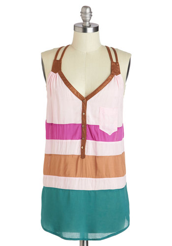 Sprinkle of Color Top - Multi, Blue, Tan / Cream, Stripes, Casual, Sleeveless, Faux Leather, Mid-length, Pockets, Studs, Beach/Resort, Summer, V Neck