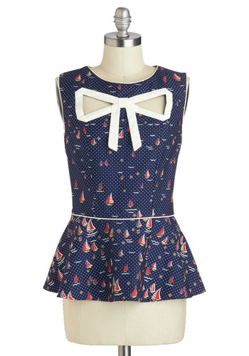 Peek-a-Bow Top in Boats by Trollied Dolly - Mid-length, Cotton, Blue, Red, White, Print, Bows, Cutout, Nautical, Vintage Inspired, Peplum, Sleeveless